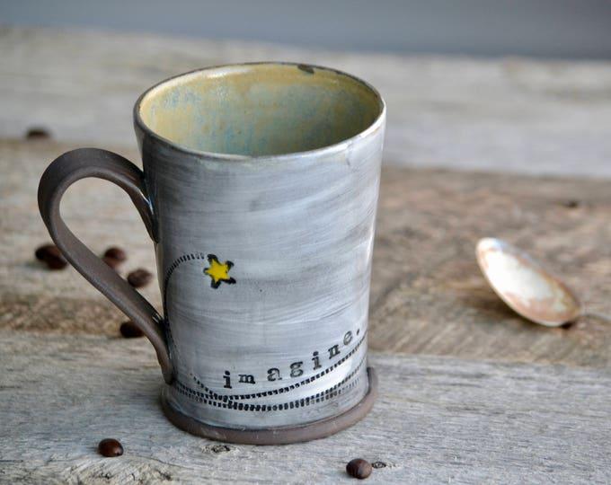 Pottery mug with shooting stars handmade coffee cup Imagine green moss inside