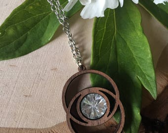 crystal and wood pendant necklace, gift for her