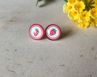 adorable kitschy strawberry stud earrings