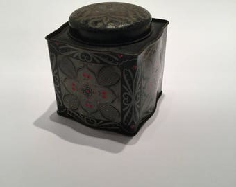 Vintage 1970s Black and Silver Square Tea Tin - Vintage Christmas Gift