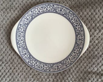 Vintage 1960s Minton Blue and White Collectable Cake Plate - Infanta