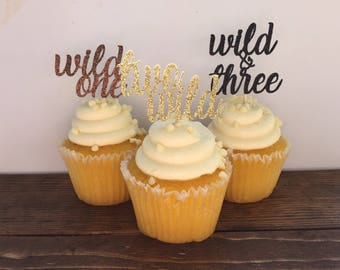 Wild One Cupcake Toppers / Two Wild Cupcake Toppers / Wild and Three Cupcake Toppers / Wild Thing Birthday Party / Wild Thing Cupcake Topper