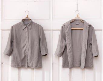 90s Linen Shirt Womens Medium Linen Shirt Minimalist Linen Blouse Gray Linen Button Up Top 3/4 Sleeve Linen Blouse Classic Grey Linen Top M