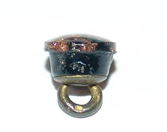 """Teeny Tiny Antique Black Glass & Goldstone Button ~ 1/4"""" Mini Waistcoat Button ~ Perfect for Mr. Teddy Bear Brown ~ *Smile*"""