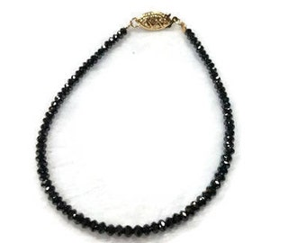 "Black Diamond Bracelet in 7"" with 14K gold clasp"