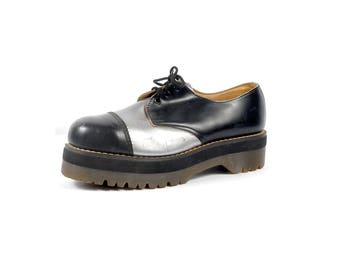 Vintage Doc Martens - 80s Doc Martens - Doc Martens Shoes - Silver Black - Doc Martens Creepers - Doc Martens Oxfords -Doc Martens Platforms
