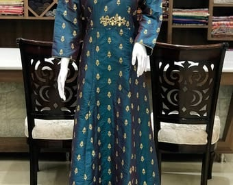 Zari Embroidered Suit with Dabka & Mirror Work, Women Indian Ethnic, Party Wear, Designer Ethnic Wear, Girls Outfit, Stitched Suit, Dress
