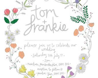 Wedding invitation design. Personalised invitation. Wedding stationary. Invitations. Floral invitation.