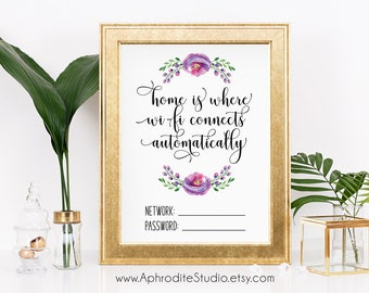 Home is where wi-fi connects print - wi-fi printable poster - wifi sign - wifi home decor - housewarming gift decor - wifi living room decor
