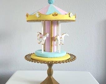 Carousel cake topper/ centerpiece - gold, powder blue, pink, baby yellow, white.