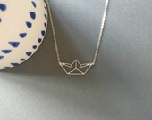 Origami boat. Necklace.