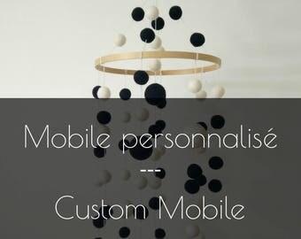 Custom Nursery mobile/baby mobile/baby crib mobile/felt balls mobile/heart/stars/modern/kids room/pompom/made in Canada/custom colors/quebec