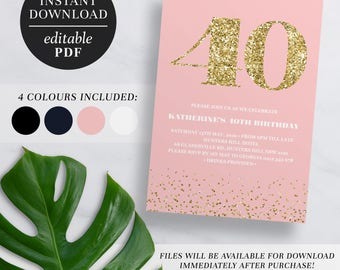 Printable 40th Birthday Invitation Gold Glitter | Editable Template | Glitter | 40 | Forty | 40th Birthday Invite | Navy | Pink | Black