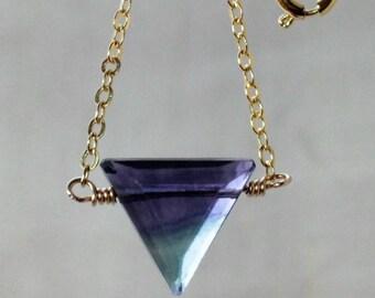 Fluorite Boho Necklace, Rainbow Fluorite Necklace, Purple Pendant Crystal, Fluorite Gold, Xmas Jewelry Wife, Rose Gold Filled, Silver