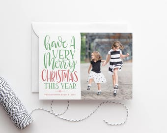 Hand Lettered Custom Christmas Cards - Family Photo Cards - Photo Card - Modern Christmas Card - Photo Holiday Cards - Holiday Photo Card