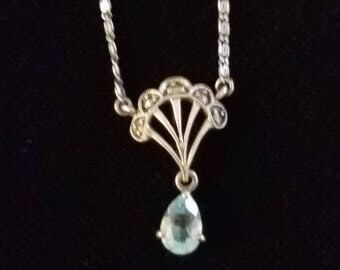 """CP001: Solid Silver Marcasite Fan Design with Blue Topaz Drop on Dark Patina Swirl on 16.25"""" Link Sterling Silver Necklace"""