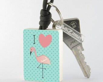 """Porte-Clé Flamant Rose """"I love Flamingo"""""""