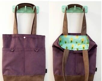 Tote bag, shoulder bag, vegan bag, Handbag, Beach Bag, summer bag, Everyday bag, canvas handbag, canvas tote, floral bag, purple hand bag