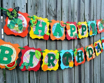 VERY HUNGRY CATERPILLAR Banner, Very Hungry Caterpillar Birthday Happy Birthday One Garden Theme Children Book