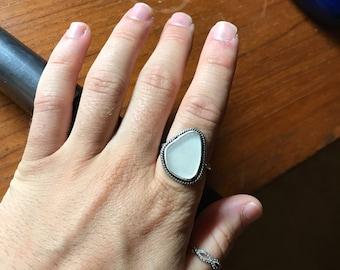 White Sea Glass Ring; Sterling Silver; Size 7; Boho
