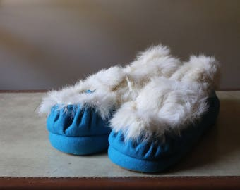 Blue cozy slippers made of felt and fur rabbit slippers home sweet home for happy feet! Vintage Slipper