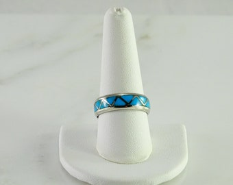 Turquoise Sterling Inlaid Ring Size 9.5