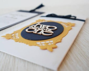 Royal Wedding Invitation, Blue and Gold Wedding Invite, Winter Wedding Invitation Card, Envelope for Money Gift, Gift Card Envelope