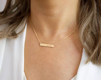 Bar Necklace, Name Necklace, Name Plate Necklace, Engravable Necklace, Silver, Gold, Rose gold • NBH31x5