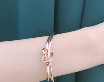 3D Printed Jewelry / LOVE KNOT Bracelet / gift for her / bridesmaids jewelry / wedding jewelry / Christmas Proposal Gift / Gold / Rose Gold