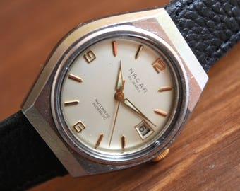 Mens Vintage Watch NACAR, AUTOMATIC watch, Swiss watch 25jewels-Automatic, Mechinical watch AS1681, Swiss Vintage watch, All Stainless Steel