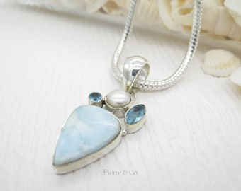 Tear Drop Larimar Fresh water Pearl and Blue Topaz Sterling Silver Pendant and Chain