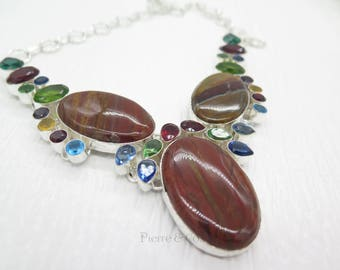 Brown Agate Blue Topaz Garnet Peridot Citrine Sterling Silver Necklace