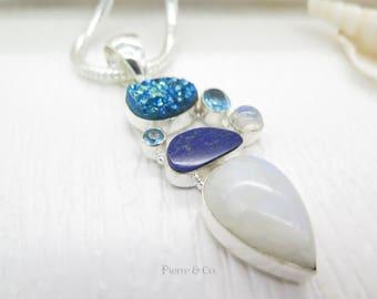 Moonstone Titanium Drusy Lapis lazuli Blue Topaz Sterling Silver Pendant and Chain
