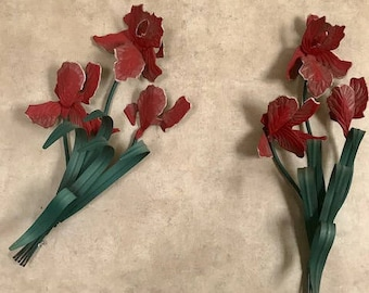 """Vintage Set Red  Iris metal Plaque by Home Interior Wall Decor 19"""" X 8"""""""