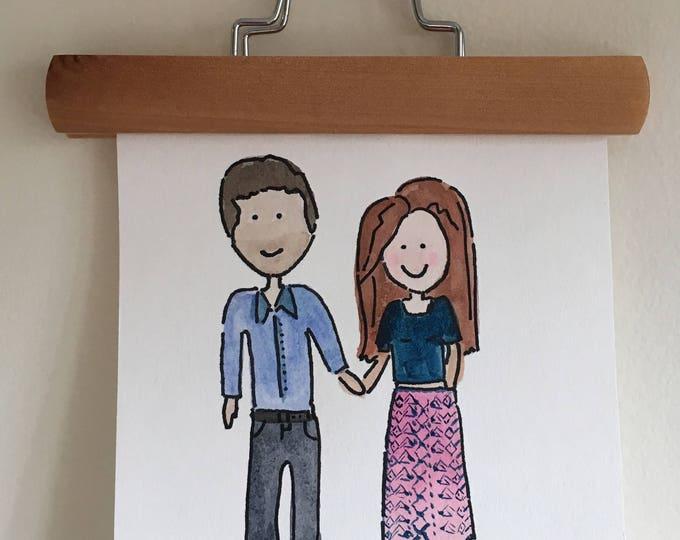 Custom Watercolor Couple- Painting 8x10' Housewarming Gift