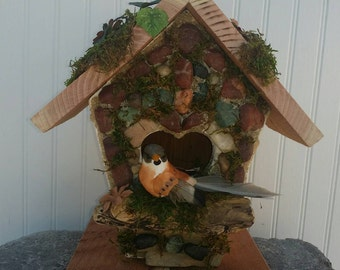 Stone Birdhouse~Rustic Rock Decor~ Fragrant Redwood~A Mossy Farmland~Woodland Accent~Country home decor~Library Office~ Back to Nature Gifts