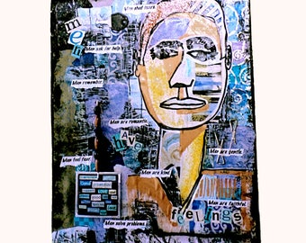 Mixed Media Collage With Positive Statements About Men, Wall Art With Self-Hanger, High Self Esteem Words, Uplifting And Encouraging Art