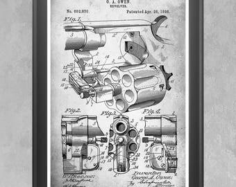 Revolver Gun Patent Print, Vintage Hand Gun, Weapon, Pistol, Gun Poster, Revolver Wall Art, Firearm Decor, Gun Enthusiast Gift Gun Gift P357