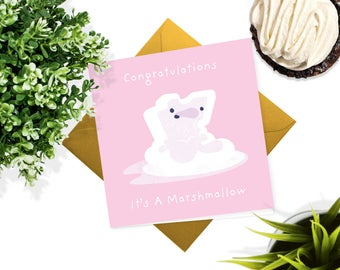 New Baby Card - Greeting Card - Baby Girl - Baby Boy - It's a Marshmallow Card - Congratulations Baby Card - Baby Shower Card - Baby Gift