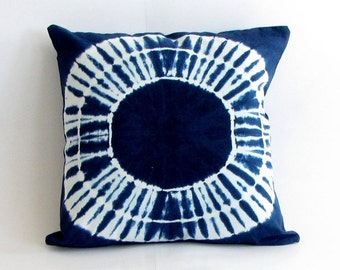 Indigo Handmade Tie & Dye, Shibori pillow case,cushion cover,throw pillow, 18x18 inches. Boho bohemian,blue cushion cover,Indigo cover