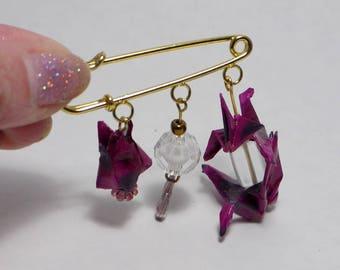 Purple Origami brooch
