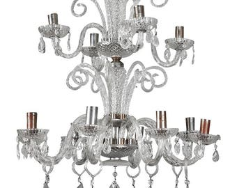 Italian Twelve Light Handblown Murano Glass 2 Tier Chandelier [1294]