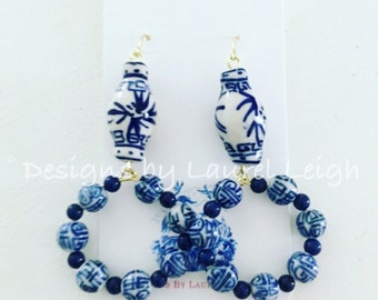 Blue and White Ginger Jar Earrings | Chinoiserie, GOLD, navy, royal, hoops, hoops, dainty, lightweight,