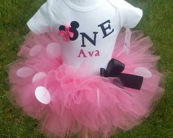 Minnie Mouse Tutu, Minnie Mouse Birthday Outfit, Minnie Mouse First Birthday,  Sizes  9 Months - 2T