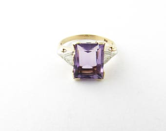 Vintage 10 Karat White Gold Amethyst and Diamond Ring Size 6 #2732