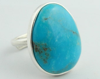 Pear Shape Turquoise Adjustable Ring- Sterling Silver