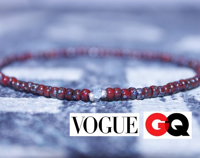 Featured listing image: Red Men's Seed Beaded bracelet Unisex - As seen in GQ, VOGUE - Men's Bead Bracelets, Mens gift for him Husband Gift , Mens Seed Bead