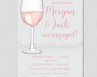 Cocktail Party Invitation, Wine Tasting Party Invitation, Engagement Party, Birthday, Dinner Party Invitation, Couples Shower Invite, Blush