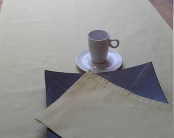 Lime 2 m 50 + 6 matching napkins, 100% linen table runner