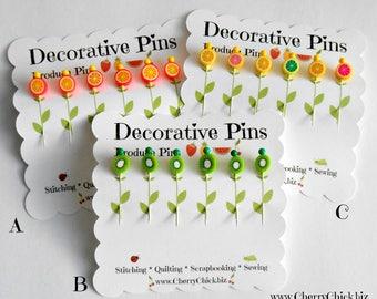 Decorative Sewing Pins - Kiwi Pins - Citrus Sewing Pins - Card making Pins - Scrapbooking Pins - Quilting Pins - Fruit Pins - Pin Toppers
